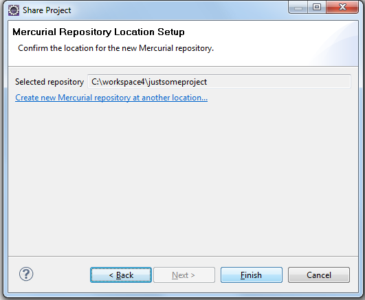 Mercurial Repository Location Setup